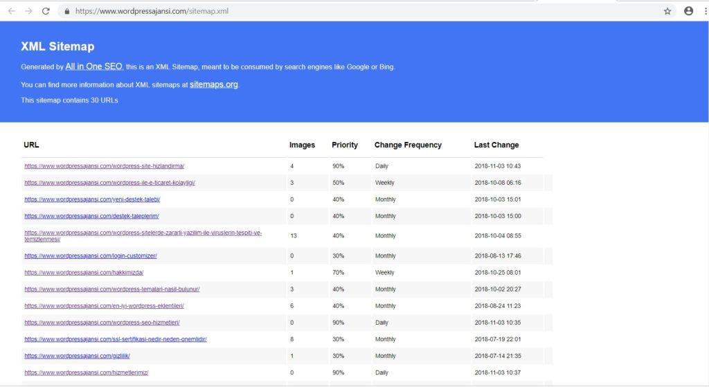 web sitesi xml site haritası