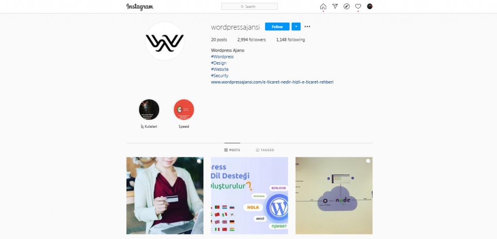 wordpress ajansı instagram marka kimliği
